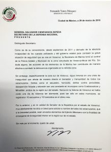 CARTA AL SEC DE LA DEFENSA NACIONAL