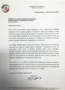 CARTA AL SEC DE LA DEFENSA NACIONAL